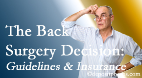 Executive Chiropractic of Iowa notes that back pain sufferers may choose their back pain treatment option based on insurance coverage. If insurance pays for back surgery, will you choose that?