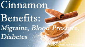 Executive Chiropractic of Iowa shares research on the benefits of cinnamon for migraine, diabetes and blood pressure.