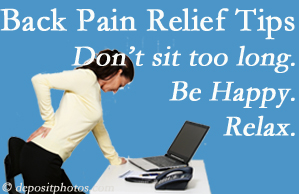 Executive Chiropractic of Iowa reminds you to not sit too long to keep back pain at bay!