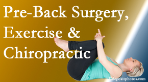 Executive Chiropractic of Iowa suggests beneficial pre-back surgery chiropractic care and exercise to physically prepare for and possibly avoid back surgery.