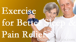 Executive Chiropractic of Iowa incorporates the suggestion to exercise into its treatment plans for chronic back pain sufferers as it improves sleep and pain relief.