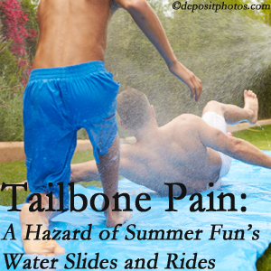 Executive Chiropractic of Iowa uses chiropractic manipulation to ease tailbone pain after a West Des Moines water ride or water slide injury to the coccyx.