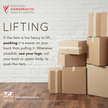 Executive Chiropractic of Iowa advises lifting with your legs.