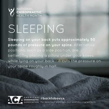 Executive Chiropractic of Iowa recommends putting a pillow under your knees when sleeping on your back.